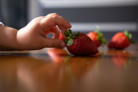 Baby s hand manipulating different fruits on a wooden table Stock Photo