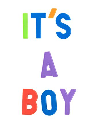 Its a boy sentence in colorful letters 스톡 콘텐츠