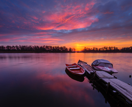 rhodium: boats in the harbor of the river in winter scenery