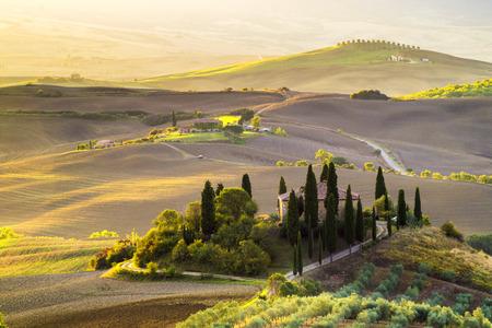 podere: Pienza, Italy, Tuscan landscape at sunrise