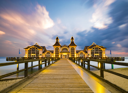 historical, antique wooden pier on the coast of baltic sea, Sellin, Germany Stock Photo