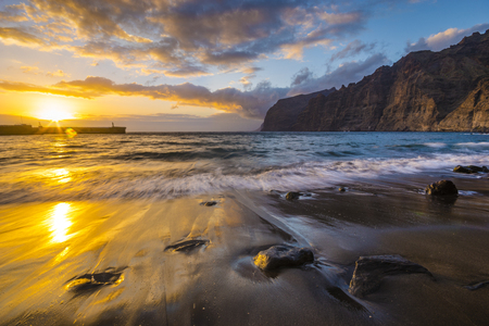 romantic, multi-colored sunset in Tenerife, Los Gigantes cliffs