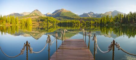 high resolution panorama of a mountain lake in the Tatra Mountains, Strbske Pleso, Slovakia