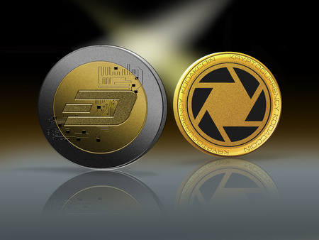 Clash of Dashcoin and Kodakcoin coins on a gently lit reflective background with copy space. Competing cryptocurrencies concept