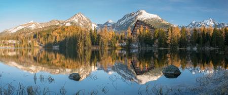 panorama of a mountain lake on a frosty morning-Strbske Pleso, Slovakia