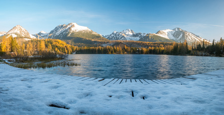 panorama of a mountain lake on a frosty morning-Strbske Pleso, Slovakia