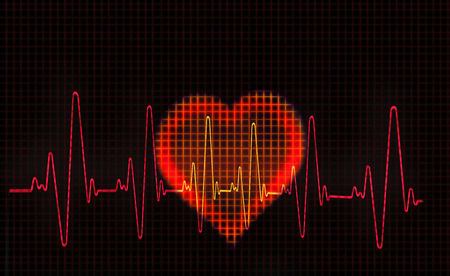 Computer artwork of a heart-shaped electrocardiogram (ECG) trace. An ECG measures the electrical activity of the heart.