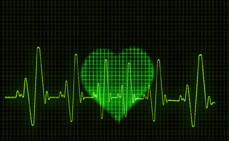 Computer artwork of a heart-shaped electrocardiogram (ECG) trace. An ECG measures the electrical activity of the heart. Standard-Bild - 103683249