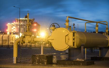pipe line valves, LNG terminal-Swinoujscie,Poland Stock Photo