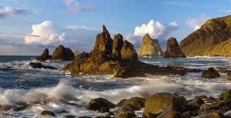 seascape-beautiful, dynamic sunset over a volcanic beach - Playa Benijo, Tenerife