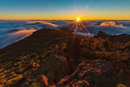 sunrise above the clouds in Teide National Park, Tenerife