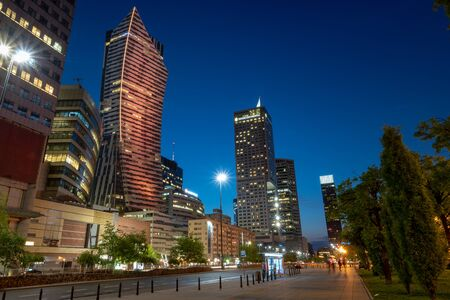 Warsaw, Poland, April 2018:Panoramic view of Warsaw downtown during the night