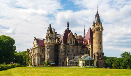 castle in Moszna, near Opole, Silesia, Poland Standard-Bild - 128139885
