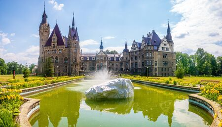 castle in Moszna, near Opole, Silesia, Poland Standard-Bild - 128139892