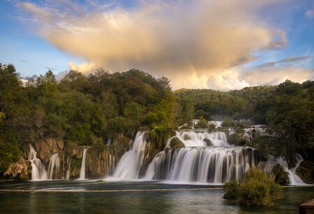 Krka National Park-panorama of the waterfall against the beautiful evening sky,Skradinski Buk Waterfall Standard-Bild - 131947282