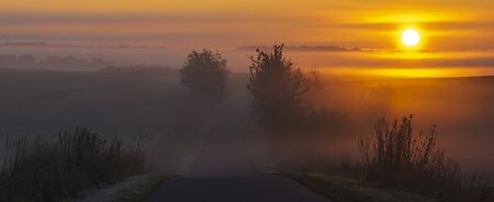 sunrise by the road and over fields reminiscent of the landscape of Italian Tuscany on a beautiful foggy morning Standard-Bild - 131947643