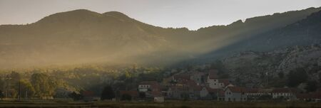 The mountain village of Njegusi in Montenegro