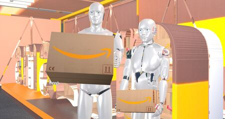 humanoid robots holding cardboard packages on the background of a banner with the Amazon logo Standard-Bild - 132235236