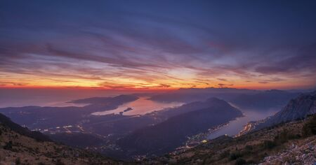 Panorama of the Bay of Kotor in Montenegro during a beautiful sunset 写真素材