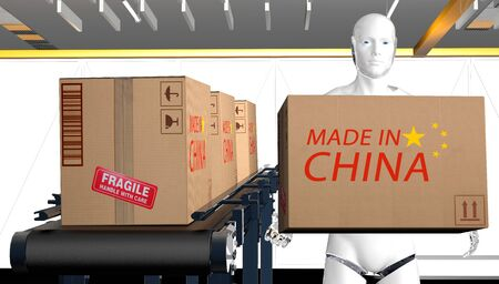 Cardboard boxes made in China on conveyor belt in warehouse operated by a humanoid robot