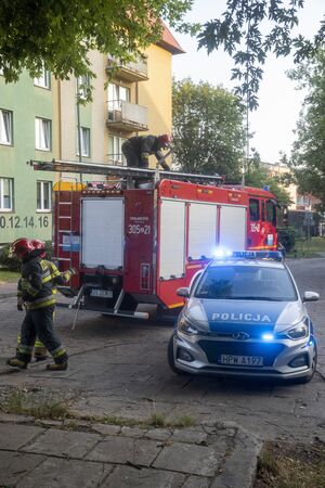 Szczecin, Poland-August 2019: joint action of the fire brigade and police in a housing estate