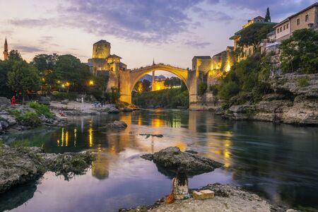 Mostar, Bosnia and Herzegovina-September 2019:The Old Bridge, Stari Most, with  river Neretva