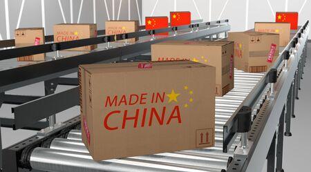 cardboard packages Made in Cina on conveyor Standard-Bild - 132235305