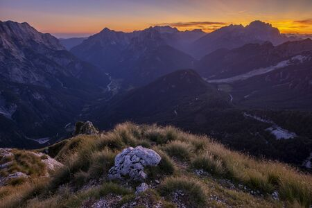 Julian Alps at sunset seen from Mangart Standard-Bild - 132235341