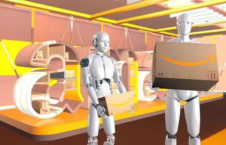 humanoid robots holding cardboard packages on the background of a banner with the Amazon logo