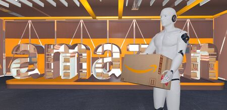 humanoid robots holding cardboard packages on the background of a banner with the Amazon logo Standard-Bild - 132235395