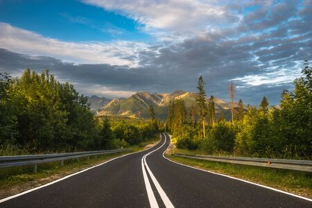 asphalt road in the mountains.Tatry, Poland