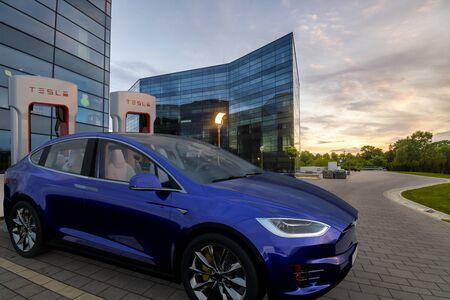 Tesla Model X during charging Standard-Bild - 141810677
