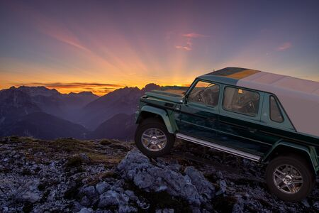 Mercedes-Maybach G 650 Landaulet on the top of the mountain