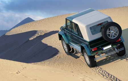 Mercedes G-650 Maybach Landaulet entering the desert dunes Editorial