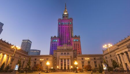 Palace of Culture and Science at night. Warsaw, Poland.