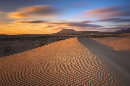 Beautiful landscape of sand dunes  in the National Park of Dunas de Corralejo , Canary Islands ,Fuerteventura