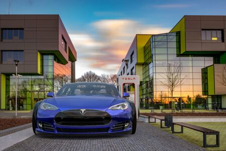 Electric Tesla Model S while charging
