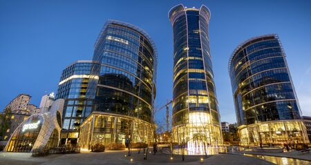 Warsaw Spire office complex at night