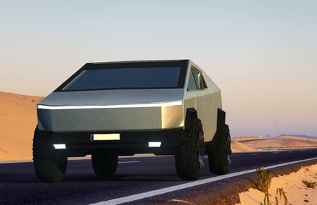 Tesla Cybertruck on an asphalt desert road.Szczecin, Poland-January 2020 Standard-Bild - 141810693