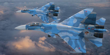 Su-33 in flight over the sea. A fighter and attack aircraft developed in the USSR, a development version of the Su-27 family, adapted for use on aircraft carriers. Standard-Bild