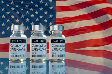 Covid-19 vaccine against the background of USA flags Standard-Bild - 159814304