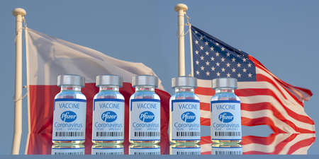 Covid-19 vaccine developed by Pfizer against the backdrop of the US and Polish flags The illustration refers to the signing of an agreement between the Polish government and Pfizer for the purchase of a vaccine