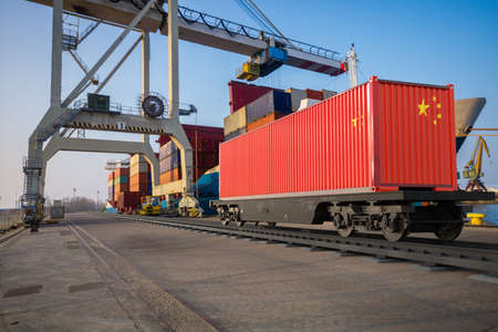 Container with a painted China flag in the port Standard-Bild - 159814449