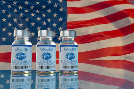 Covid-19 vaccine developed by Pfizer on the background of the USA flag Standard-Bild - 159625475