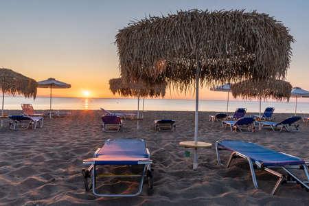 Beautiful sunrise over a sandy beach in Rhodes