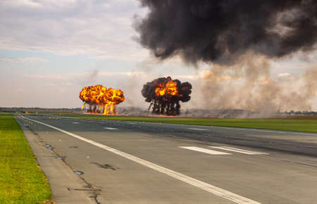Military airport after the bomb attack.Artistic vision Standard-Bild