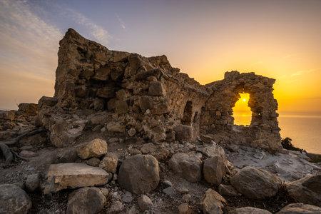 Sunset at Monolithos castle, Rhodes island, Greece Standard-Bild