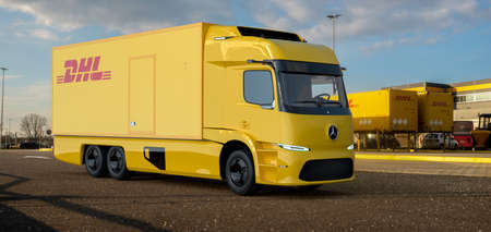 All electric Mercedes-Benz Urban eTruck. A vision of an electric truck used by DHL
