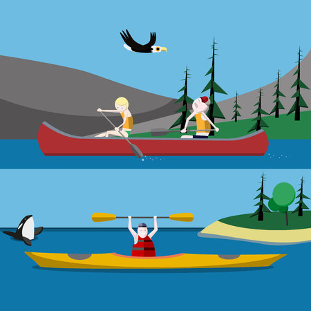 ocean kayak: Canoa y kayak ilustraciones de vectores planas