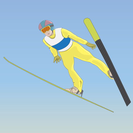 Ski jumping. A man in the air. Vector color illustration Ilustrace
